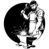 Σιδηρουργός με τη διανυσματική απεικόνιση σφυριών Στοκ Εικόνες