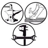 Σιδηρουργός, ξυλουργός, κλειδαράς artisans Στοκ εικόνες με δικαίωμα ελεύθερης χρήσης