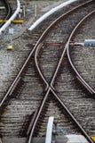 Σιδηροδρομικές γραμμές και διακόπτες σε Froettmaning στο Μόναχο, 2015 στοκ εικόνα