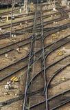 Σιδηροδρομικές γραμμές και διακόπτες σε Hackerbruecke στο Μόναχο, 2015 Στοκ εικόνες με δικαίωμα ελεύθερης χρήσης