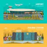 Σιδηροδρομικός σταθμός και αερολιμένας Στοκ Εικόνες