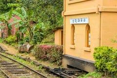 Σιδηροδρομικός σταθμός στη Σρι Λάνκα Στοκ Φωτογραφία