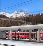 Σιδηροδρομικός σταθμός στο ST Moritz, Ελβετία Στοκ φωτογραφίες με δικαίωμα ελεύθερης χρήσης