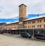 Σιδηροδρομικός σταθμός του ST Moritz στην Ελβετία Στοκ Εικόνες