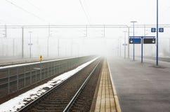 Σιδηροδρομικός σταθμός Kouvola στην ομίχλη Στοκ Φωτογραφίες