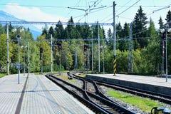 Σιδηροδρομικός σταθμός pleso Strbske Στοκ φωτογραφίες με δικαίωμα ελεύθερης χρήσης