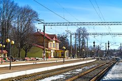 Σιδηροδρομικός σταθμός svetlogorsk-1. Πόλη Svetlogorsk (μέχρι το 1946 - Rauschen), Ρωσία στοκ φωτογραφία με δικαίωμα ελεύθερης χρήσης