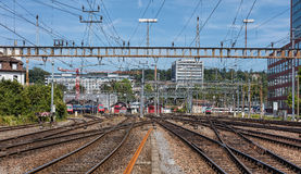 Σιδηρόδρομοι του κύριου σταθμού Winterthur Στοκ Εικόνα
