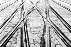Σιδηρόδρομοι τραμ στην πόλη Στοκ Εικόνες