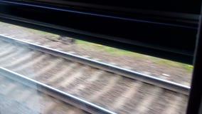 Σιδηρόδρομος από την κίνηση του παραθύρου τραίνων απόθεμα βίντεο