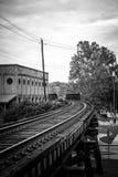 Σιδηρόδρομος σε κεντρική συνοικία Columbus, GA Στοκ φωτογραφία με δικαίωμα ελεύθερης χρήσης