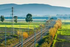 Σιδηρόδρομος σε Piombino στην Τοσκάνη, Ιταλία Στοκ φωτογραφίες με δικαίωμα ελεύθερης χρήσης