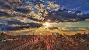 σιδηρόδρομος στο ηλιοβασίλεμα Στοκ φωτογραφία με δικαίωμα ελεύθερης χρήσης