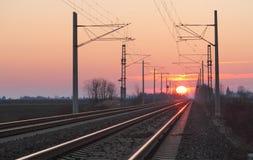 Σιδηρόδρομος dusk Στοκ Εικόνα