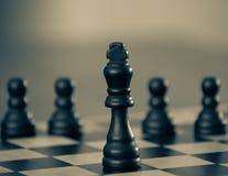 Σκάκι - βασιλιάς με τα ενέχυρα πίσω στοκ φωτογραφία με δικαίωμα ελεύθερης χρήσης