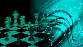 Σκάκι εμπορικής στρατηγικής παγκόσμιων επιχειρήσεων με το υπόβαθρο νευμάτων μουσικής επικοινωνία τεχνολογίας ελεύθερη απεικόνιση δικαιώματος