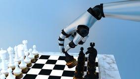 Σκάκι παιχνιδιού ρομπότ Στοκ Εικόνες