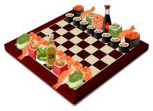 Σκάκι σουσιών, διανυσματική απεικόνιση Στοκ εικόνα με δικαίωμα ελεύθερης χρήσης