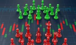 Σκάκι στη γραφική παράσταση ραβδιών κεριών, προγραμματισμός αγοράς-πώλησης στο χρηματιστήριο ελεύθερη απεικόνιση δικαιώματος