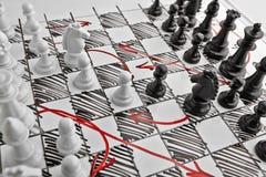 Σκάκι Σχέδιο της μάχης Στοκ Φωτογραφία