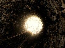 Σκάλα στο φως με τον κισσό Στοκ Εικόνα