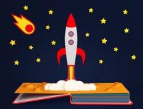 Σκάστε επάνω το βιβλίο με την έναρξη πυραύλων Στοκ Εικόνες