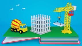 Σκάστε επάνω το βιβλίο με το σχεδιάγραμμα του εργοτάξιου οικοδομής και του εξοπλισμού Στοκ Φωτογραφία