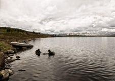 Σκάφανδρο που βουτά σε μια λίμνη βουνών, τεχνικές άσκησης για τους σωτήρες έκτακτης ανάγκης βύθιση στο κρύο νερό στοκ εικόνες