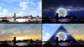 Σκάφη από το διαφορετικό είδος στην προκυμαία σε τέσσερις οθόνες ελεύθερη απεικόνιση δικαιώματος
