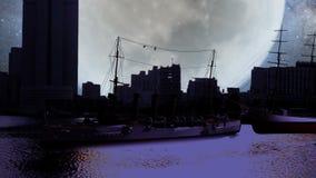 Σκάφη από όλο το είδος στην κινηματογράφηση σε πρώτο πλάνο προκυμαιών τη νύχτα απεικόνιση αποθεμάτων