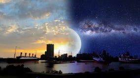 Σκάφη από όλο το είδος στην προκυμαία τη νύχτα και το ηλιοβασίλεμα διανυσματική απεικόνιση