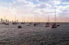 Σκάφη, γιοτ, αλιευτικά σκάφη, υπόβαθρο μπλε ουρανού, ηλιοβασίλεμα, σύννεφο Στοκ Εικόνες