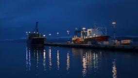 Σκάφη εμπορευματοκιβωτίων στο λιμένα Ushuaia Αργεντινή απόθεμα βίντεο