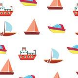 Σκάφη και βάρκες - άνευ ραφής διανυσματικό σχέδιο θάλασσας Γραφική τέχνη για το W Στοκ Εικόνες