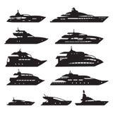 Σκάφη και βάρκες καθορισμένα, σύνολο εικονιδίων γιοτ διάνυσμα διανυσματική απεικόνιση