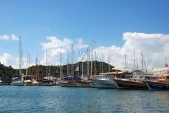 Σκάφη και θάλασσα Uchagiz, Lycia στοκ φωτογραφία