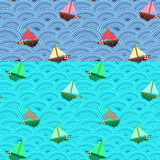 Σκάφη με τα διαφορετικά χρώματα των πανιών στη θυελλώδη θάλασσα Μπλε κύμα άνευ ραφής διάνυσμα προτύπ&omeg Στοκ Εικόνες