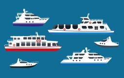 Σκάφη σκαφών της γραμμής κρουαζιέρας θάλασσας επιβατών, διανυσματικά επίπεδα εικονίδια βαρκών θαλασσίων μεταφορών γιοτ ελεύθερη απεικόνιση δικαιώματος
