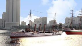 Σκάφη στην προκυμαία στην κινηματογράφηση σε πρώτο πλάνο φωτός της ημέρας διανυσματική απεικόνιση