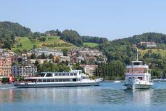 Σκάφη στη λίμνη Luzerne Στοκ εικόνες με δικαίωμα ελεύθερης χρήσης