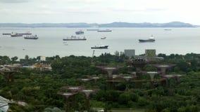 Σκάφη στο στενό της Σιγκαπούρης απόθεμα βίντεο