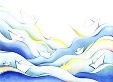 Σκάφη της Λευκής Βίβλου που επιπλέουν στα μπλε κύματα απεικόνιση αποθεμάτων