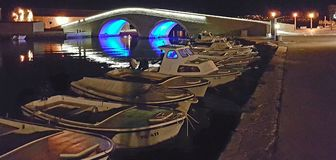 Σκάφη τη νύχτα Στοκ φωτογραφίες με δικαίωμα ελεύθερης χρήσης