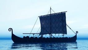 Σκάφος Βίκινγκ στην αυγή ελεύθερη απεικόνιση δικαιώματος