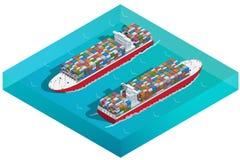 Σκάφος, βυτιοφόρο ή φορτηγό πλοίο εμπορευματοκιβωτίων με το εικονίδιο εμπορευματοκιβωτίων Επίπεδος τρισδιάστατος isometric υψηλός Στοκ φωτογραφία με δικαίωμα ελεύθερης χρήσης