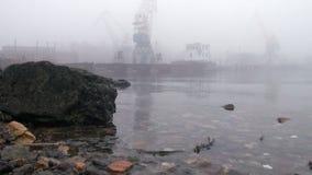 Σκάφος γερανών στο λιμένα στον ποταμό στις πέτρες ομίχλης απόθεμα βίντεο