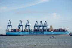 Σκάφος εμπορευματοκιβωτίων γραμμών Maersk στο λιμένα σε Flexistowe με τους γερανούς Στοκ φωτογραφία με δικαίωμα ελεύθερης χρήσης