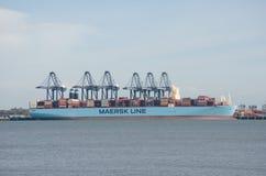 Σκάφος εμπορευματοκιβωτίων γραμμών Maersk στο λιμένα Flexistowe με τους γερανούς Στοκ εικόνες με δικαίωμα ελεύθερης χρήσης