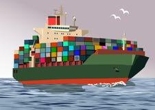 Σκάφος εμπορευματοκιβωτίων, διανυσματική απεικόνιση Στοκ φωτογραφία με δικαίωμα ελεύθερης χρήσης
