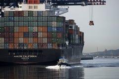 Σκάφος εμπορευματοκιβωτίων Καλιφόρνιας Hanjin Στοκ Εικόνες